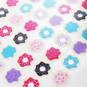 Mini Donut Paper Stickers - 4 Sheets of 24