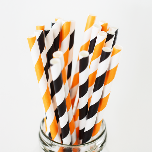 Striped Halloween Paper Straws - 25 Pieces