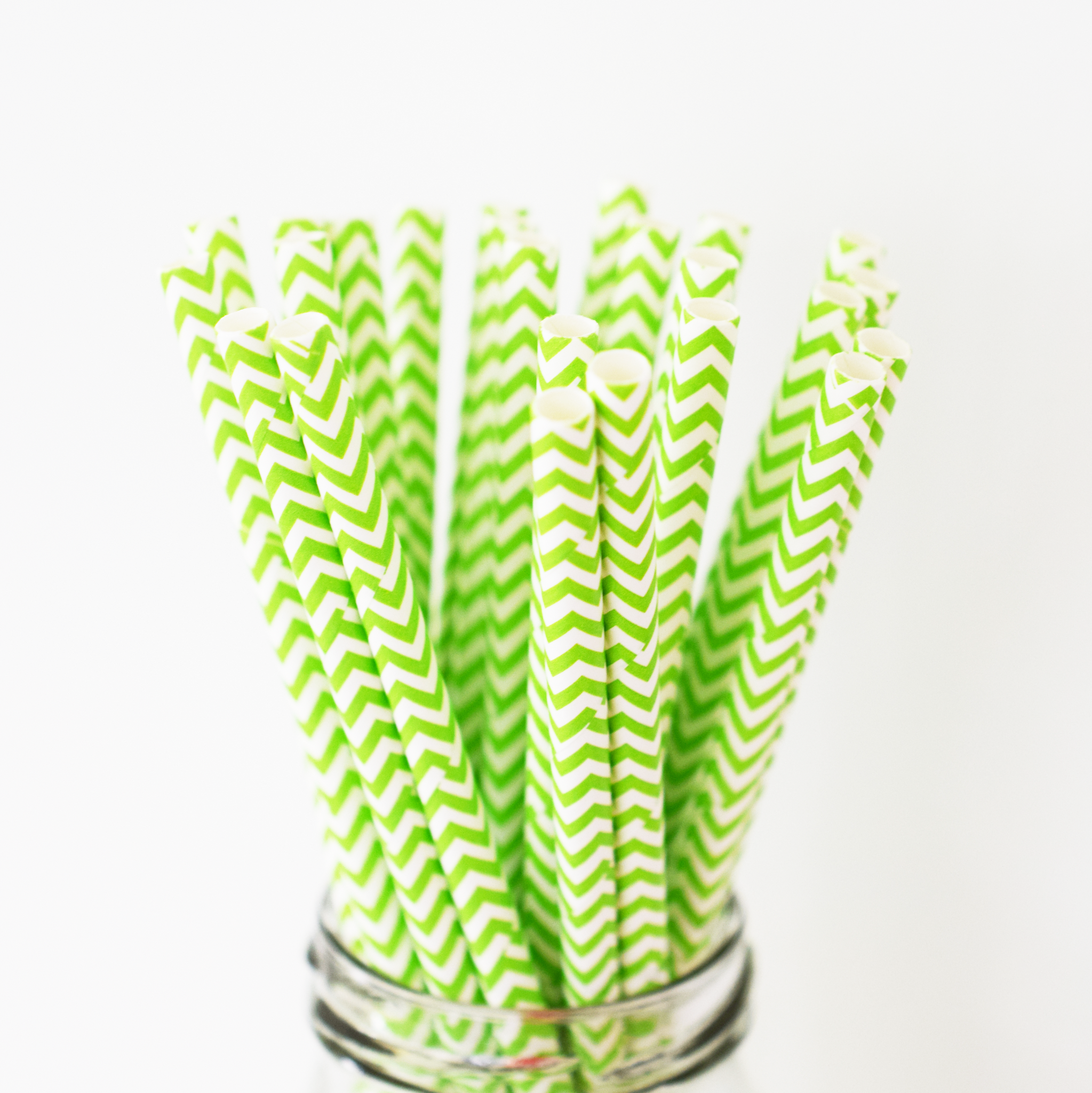 Lime Green Chevron Paper Straws - 25 Pieces