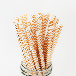Rose Gold Chevron Paper Straws - 25 Pieces