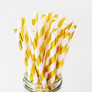 Gold Foil Striped Paper Straws - 25 Pieces