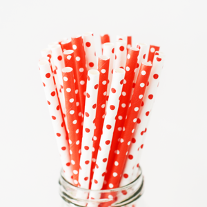 Red and White Dots Paper Straws - 25 Pieces