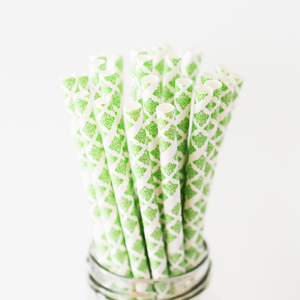 Quatrefoil Green Paper Straws - 25 Pieces