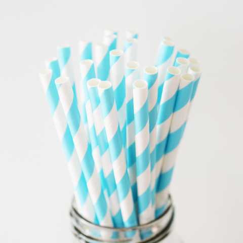 Striped Sky Blue Paper Straws - 25 Pieces