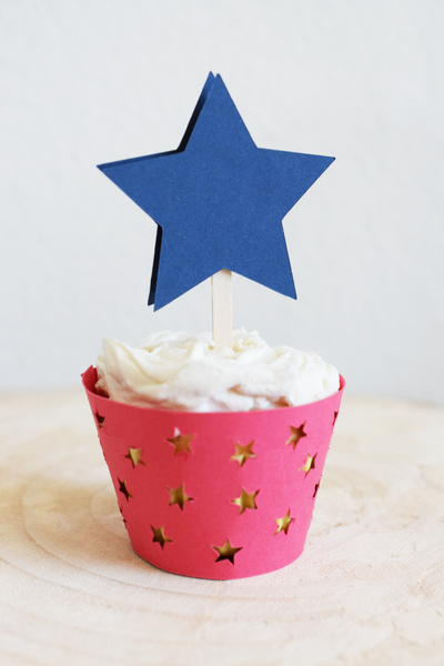 July 4th Star Cupcake Toppers - Set of 12