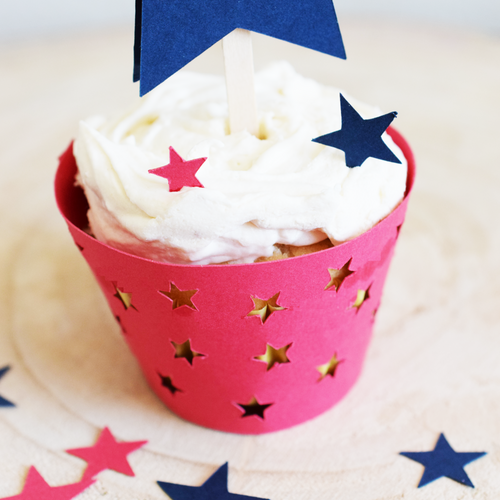 July 4th Star Cupcake Wrappers - Set of 12