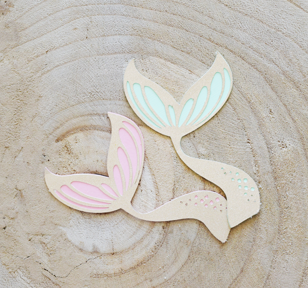 mermaid tail cupcake toppers glitter told pale pink mint green thecloudfactory