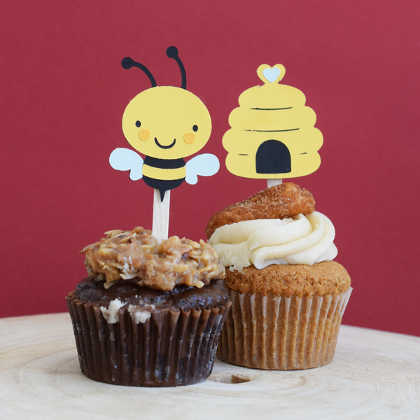 Bumble Bee Cupcake Toppers - Set of 12