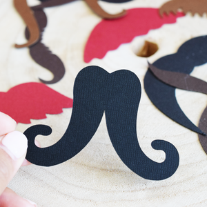 assorted moustache mustache die cut paper punch out punchouts cut outs