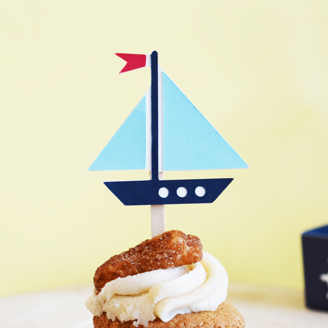 Nautical Sailboat Cupcake Toppers - Set of 12