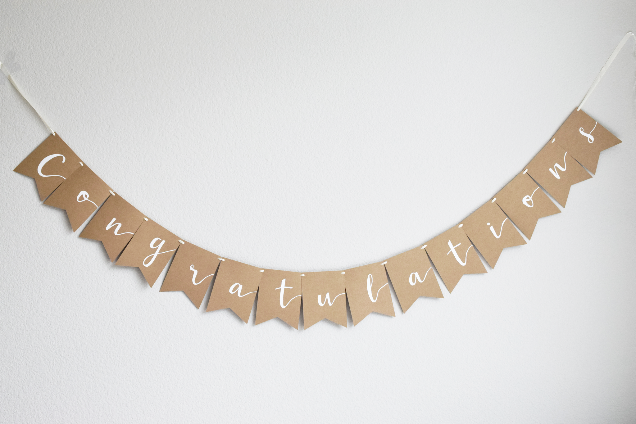 congratulations banner kraft cardstock white tan light brown congrats graduation garland