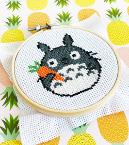Totoro cross stitch diy craft kit holding carrot