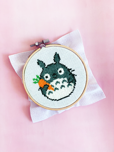 Totoro With Carrot - DIY Cross Stitch Kit