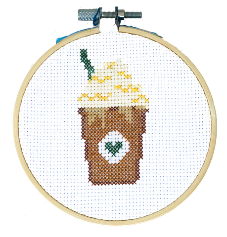 Starbucks Frappucino DIY Cross Stitch Kit, Stitching, Coffee, Basic White Girl Frozen Blended Drink, Craft Kit, Stitching, TheCloudFactory craft store, The Cloud Factory, Cloth Aida, Embroidery Floss, Embroidery Hoop, Embroidery Needle, Pattern, Beginner's guide, felt square