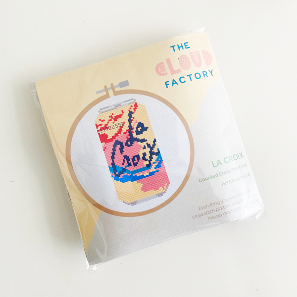 La Croix Sparkling Water Can Cross Stitch Kit, DIY Craft Kit, Embroidery Kit, Includes Aida Cloth, Embroidery Floss (String), Embroidery Hoop, Embroidery Needle, Felt Square. Made by TheCloudFactory