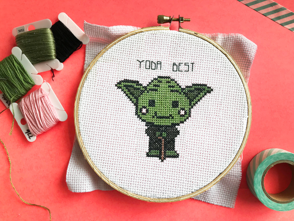 Yoda Best Star Wars Alien Father's Day Cross Stitch Craft Kit DIY Materials Included Intermediate aida hoop pattern, thread, cloth, needle