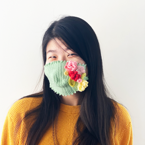 Crochet Flowers Face Mask
