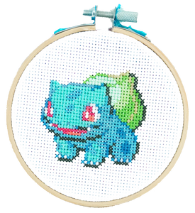 Bulbasaur Pokemon Cross Stitch Kit DIY Craft Kit The Cloud Factory TheCloudFactory Embroidery Kit Aida Cloth, Embroidery Floss, Embroidery Needle, String, Felt, Embroidery Hoop
