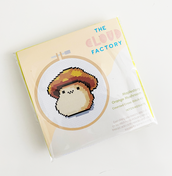 Maplestory Orange Mushroom Cross Stitch Craft Kit DIY Materials Included Intermediate aida hoop pattern, thread, cloth, needle