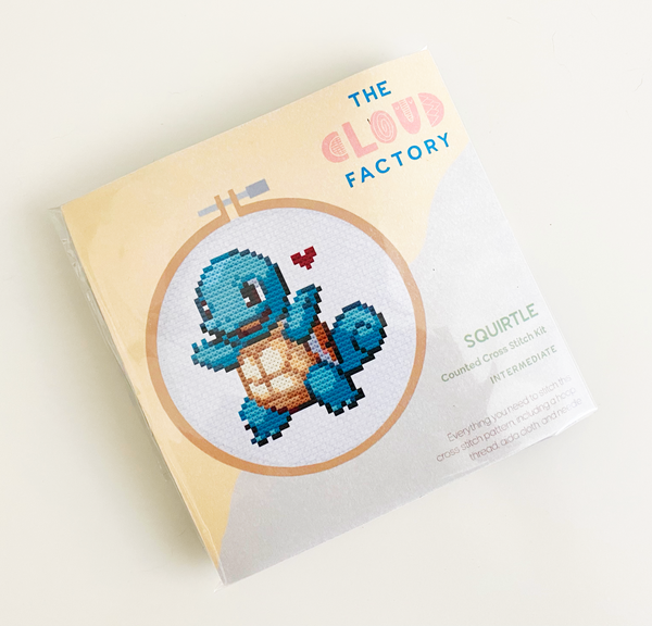 Squirtle Pokemon DIY Cross Stitch Kit, Gotta Stitch Them All, Craft Kit, Stitching, TheCloudFactory craft store, The Cloud Factory, Cloth Aida, Embroidery Floss, Embroidery Hoop, Embroidery Needle, Pattern, Beginner's guide, felt square