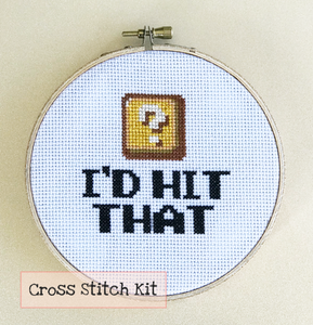 I'd hit that super mario yoshi point box cross stitch kit, aida, embroidery needle, embroidery floss, string, embroidery hoop, felt cloth