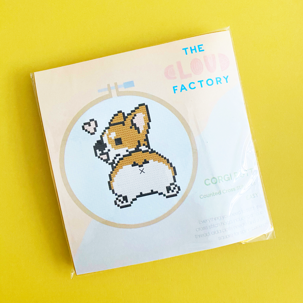 Corgi Butt Cross Stitch Kit, DIY Craft Kit, Embroidery Kit, Needlepoint Kit, Aida Cloth, Embroidery Floss (String), Embroidery Needle, Hoop, Felt Square, Pattern, TheCloudFactory