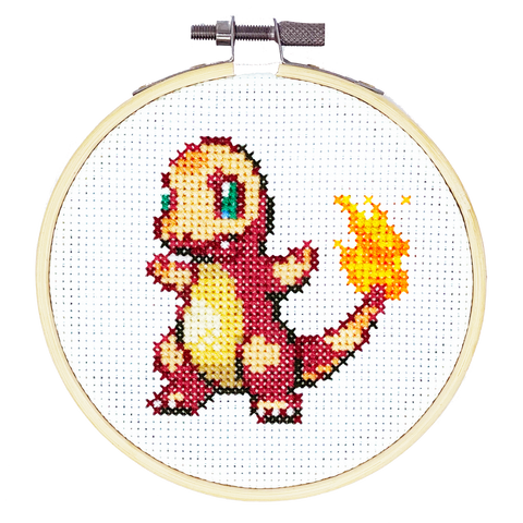 Charmander Pokemon DIY Cross Stitch Kit, Craft Kit, Gotta Stitch Them All, TheCloudFactory craft store, The Cloud Factory, Cloth Aida, Embroidery Floss, Embroidery Hoop, Embroidery Needle, Pattern, Beginner's guide, felt square