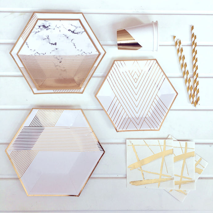 Gold and White Party Supplies Pack