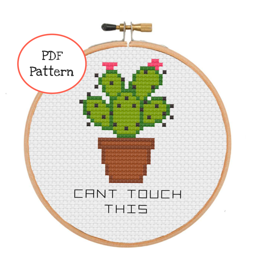 Can't Touch This Cactus Cross Stitch - PDF Instructions