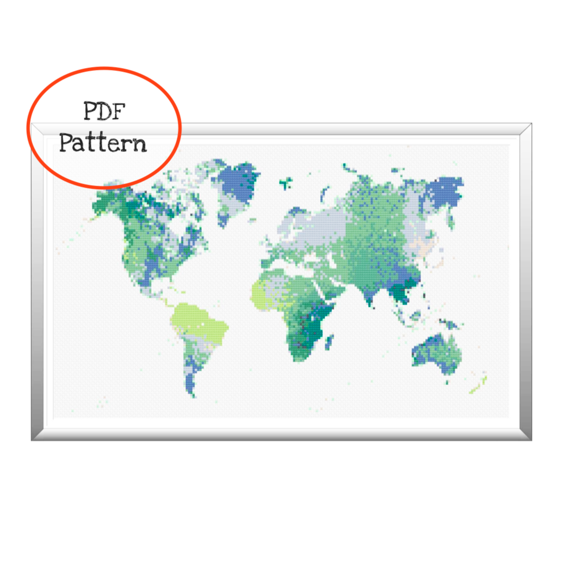 Picture of: Watercolor Map Of The World Cross Stitch Pdf Pattern Thecloudfactory