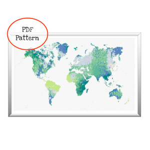 Watercolor Map of the World Cross Stitch - PDF Pattern