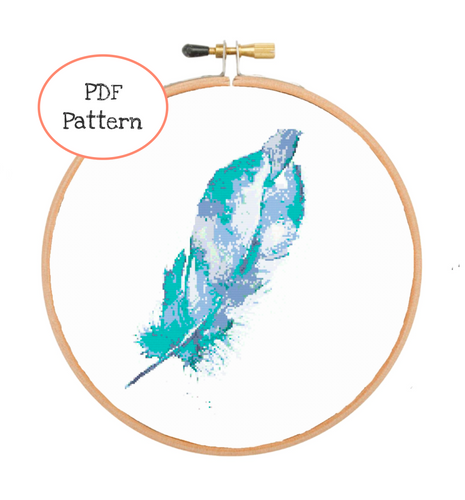 Watercolor Feather Cross Stitch - PDF Instructions