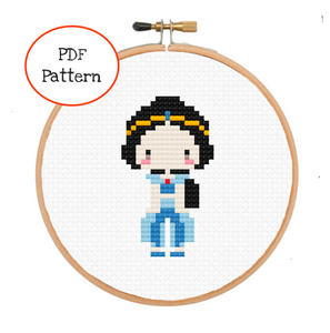 princess jasmine aladin alladin disney fairytale cross stitch pattern mini easy beginners embroidery handmade