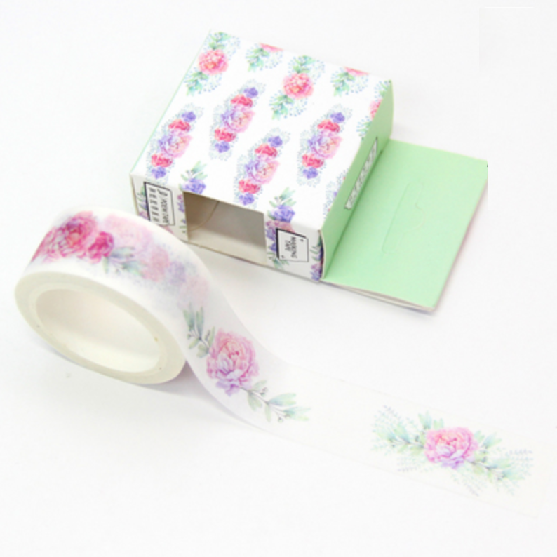 Watercolor Rose Washi Tape - 3cm