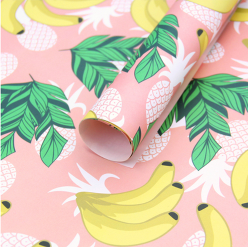Tropical Bananas Wrapping Paper - 3 Sheets