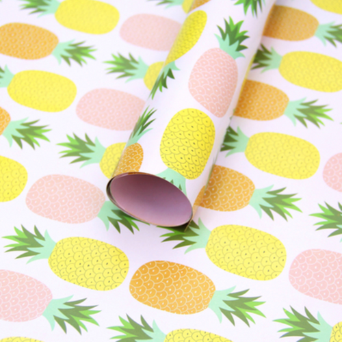 Printed Pineapple Wrapping Paper - 3 Sheets