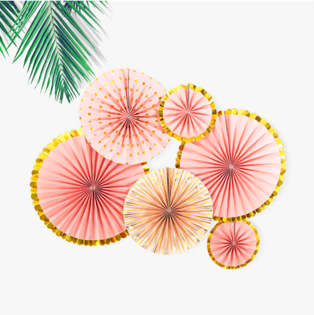 Coral Paper Party Fans - Set of 6
