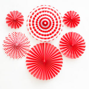 Red Hanging Paper Party Fans - Set of 6