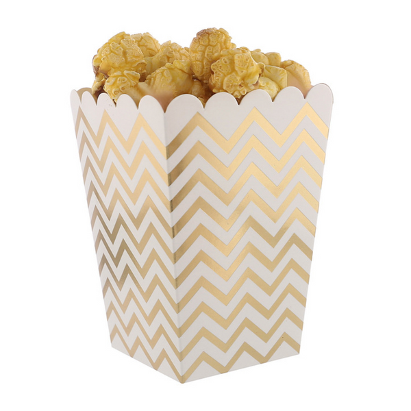 Metallic Chevron Popcorn Boxes - Set of 12, Choose Color