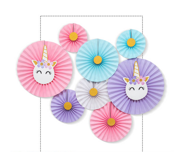 Unicorn Paper Party Fans - Set of 8
