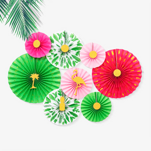 Tropical Paper Party Fans - Set of 8