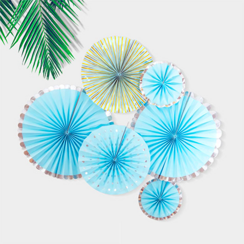 Winter Wonderland Paper Party Fans - Set of 6