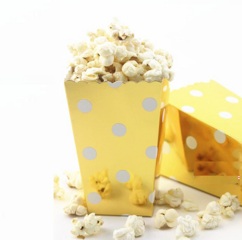 Metallic Polka Dot Popcorn Boxes - Set of 12, Choose Color