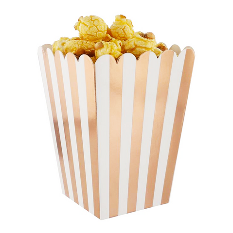 Metallic Striped Popcorn Boxes - Set of 12, Choose Color