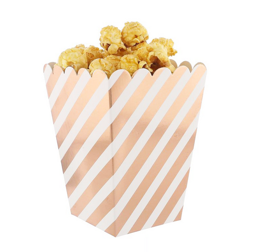 Metallic Diagonal-Striped Popcorn Boxes - Set of 12, Choose Color
