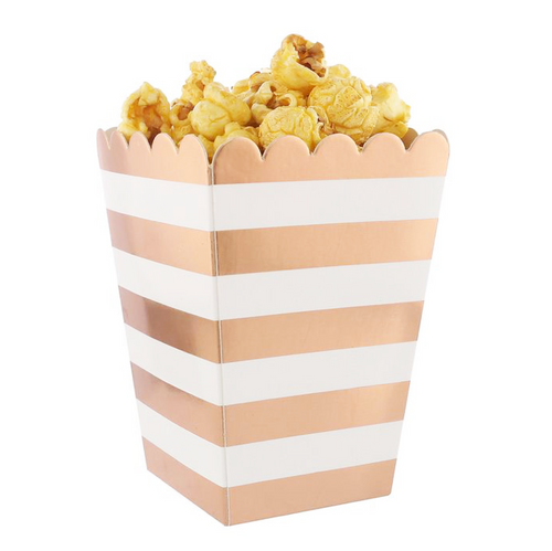 Metallic Horizontal-Striped Popcorn Boxes - Set of 12, Choose Color