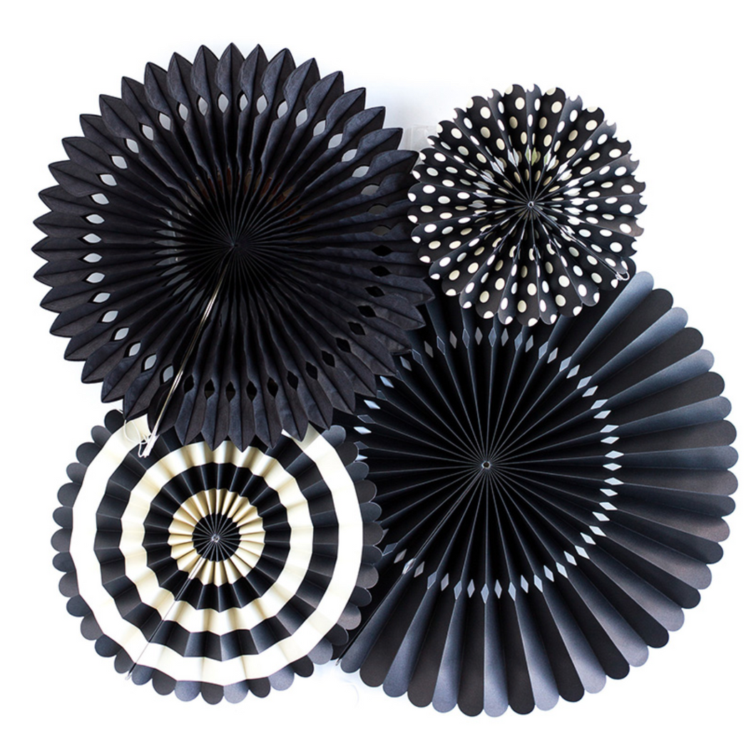 Black Paper Party Fans - Set of 4