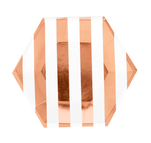 Striped Rose Gold Hexagon Paper Plates - Set of 8