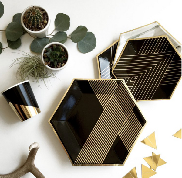 Gold and Black Party Supplies Pack