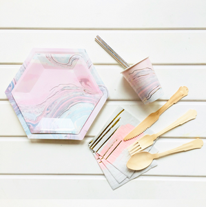 Pastel Marble Party Supplies Pack